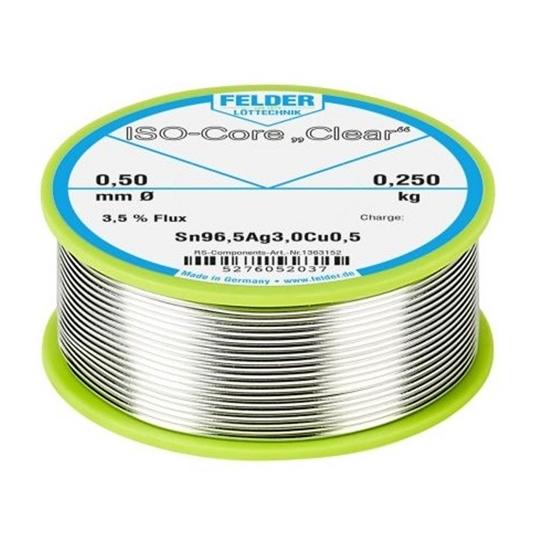 "Felder spajkalna žica ISO-Core ""Clear""  SAC305 Sn96.5Ag3Cu0.5 0,5mm 0,25kg"